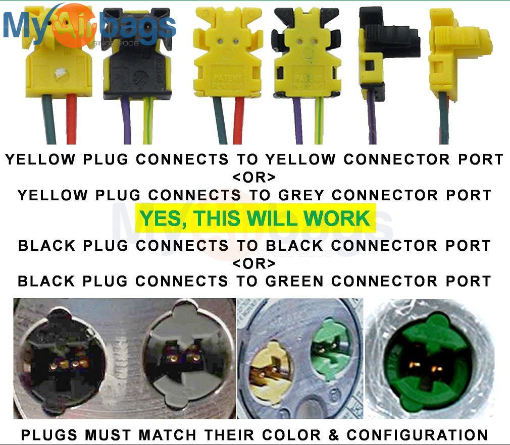Fits Jeep Wrangler Airbag Clockspring Plugs Wire Connector New 4 Ebay 2008 Clock Spring Wiring Schematic 2 Pieces Plug Yellow Black T4