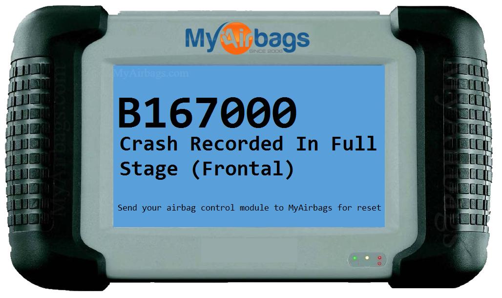 Myairbags Dtc Scan Code B167000 Crash Recorded In Full